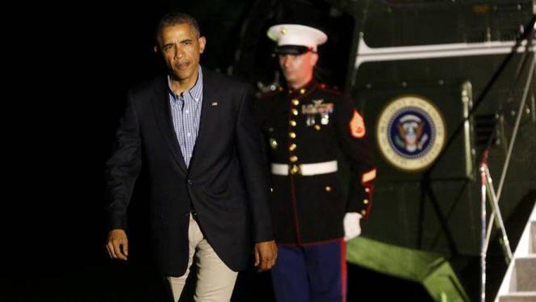President Obama keert terug van een bezoek aan Californië.