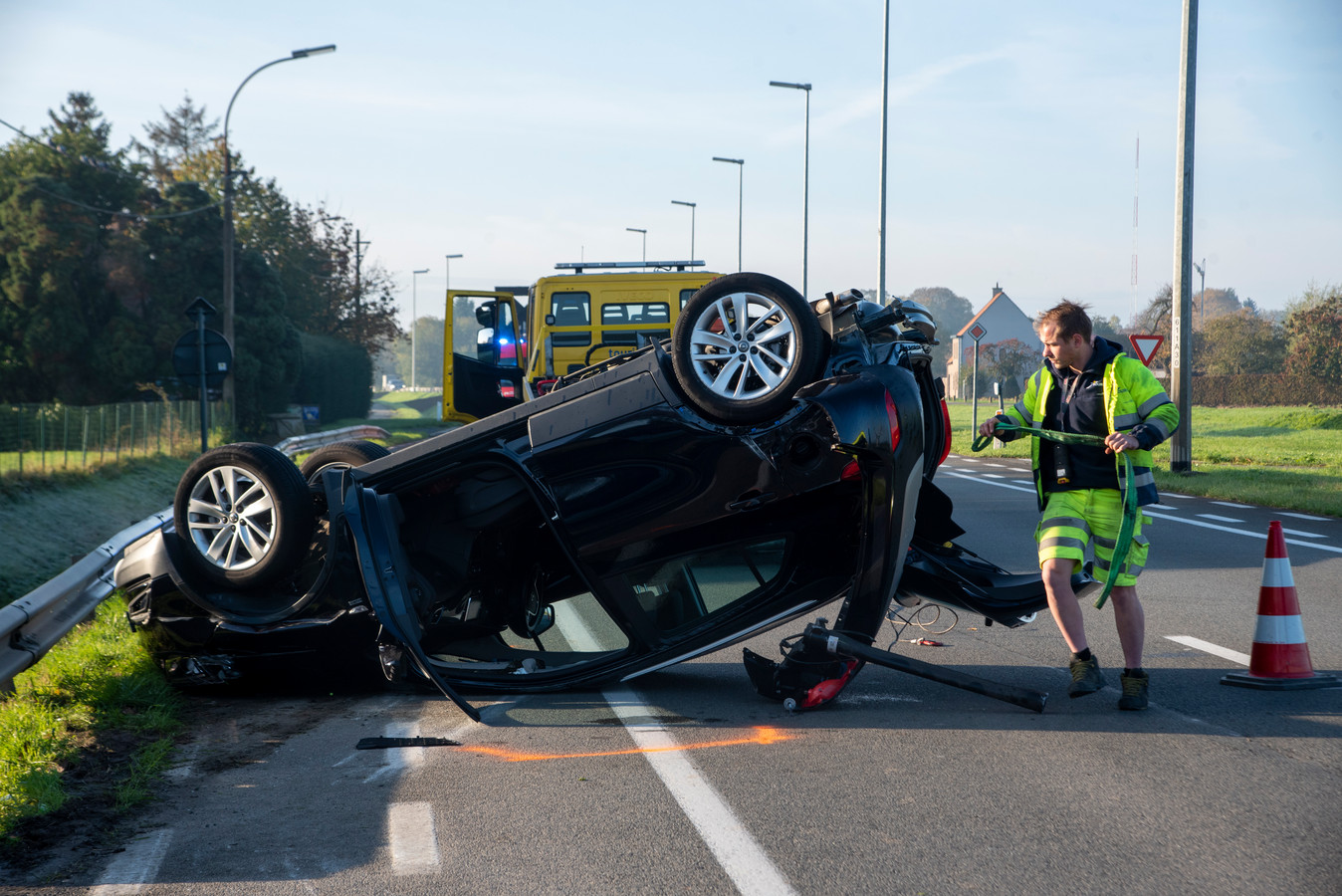 Verkeersongeval Wettersesteenweg Oosterzele.