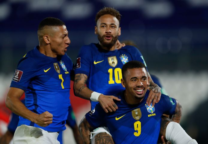 Neymar (midden), Gabriel Jesus (rechts) en Richarlison.