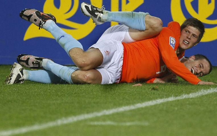 Sinds de vorige interland, op 11 februari tegen Tunesië, speelde Van der Vaart slechts 32 minuten voor Real, maar scoorde Huntelaar al acht doelpunten in zes duels. Foto ANP/Marcel Antonisse Beeld