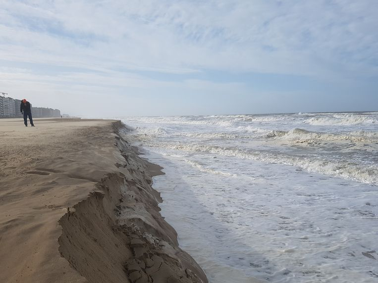 In Oostende zijn zandkliffen ontstaan door storm Ciara, soms wel tot 2 meter hoog.