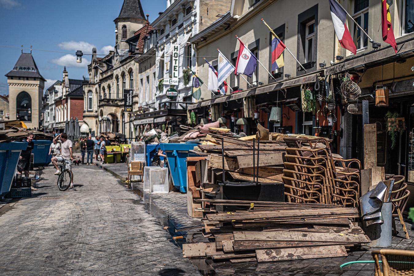 Valkenburg enkele dagen na de enorme overstromingen van de Maas (18 juli 2021).