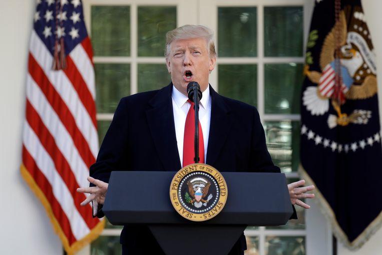President Donald Trump in de Rose Garden van het Witte Huis op 25 januari Beeld AP