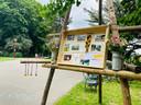 De rit kwam aan in het Te Boelaerpark, waar een gedenkplaats voor Fien Teblick is.
