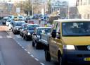 File op de Banneweg in Gorinchem.