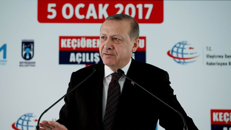 De Turkse president Recep Tayyip Erdogan Beeld AFP