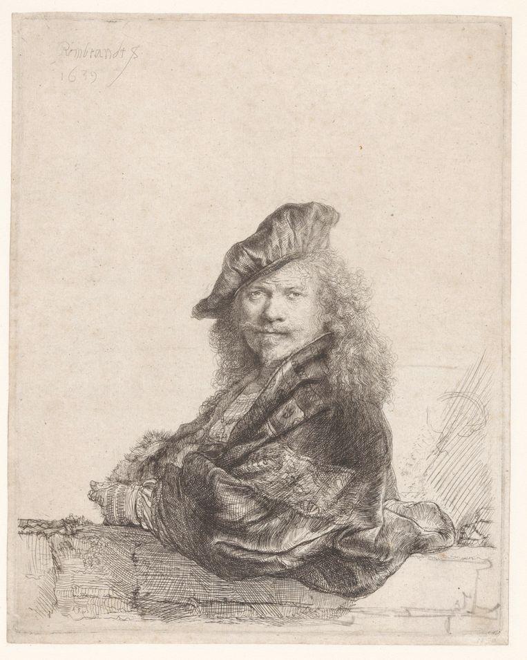 Zelfportret met de onderarm leunend op een stenen dorpel. Beeld Rijksmuseum Amsterdam