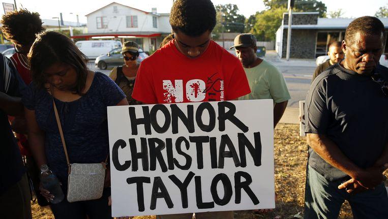 Een herdenking voor Christian Taylor in Arlington, Texas. Beeld ap