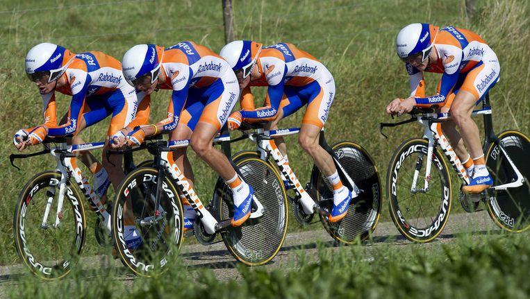 De heren van het team Rabobank Continental tijdens de ploegentijdrit op het WK wielrennen, in september. Beeld ANP