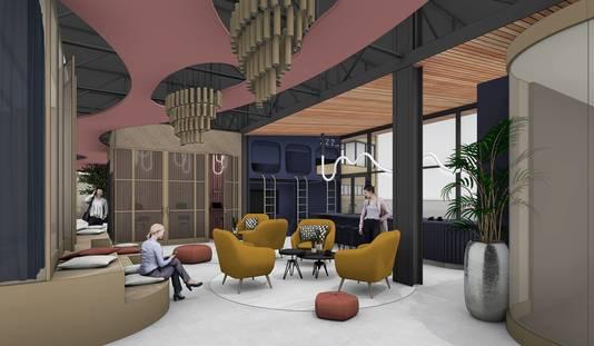 En zo zou de bovenste verdieping van gebouw TQ op Strijp-T in Eindhoven eruit kunnen komen te zien;. Kragt Groep heeft hiervoor het Melt-concept van gedeelde werkplekken uitgewerkt.