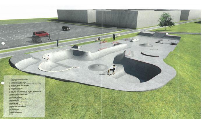 Het ontwerp voor het skatepark.