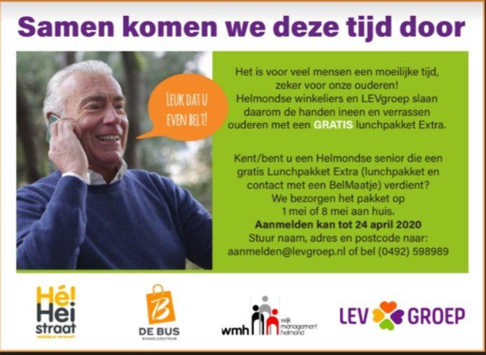 Ouderen in Helmond kunnen rekenen op een gratis lunchpakket