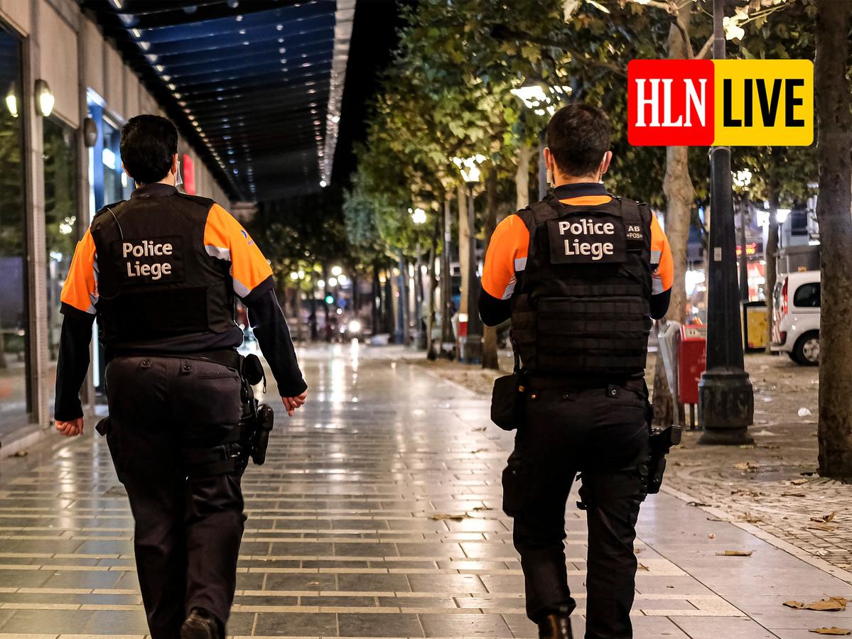 Agenten tijdens een patrouille rond de coronamaatregelen in Luik, beeld ter illustratie.