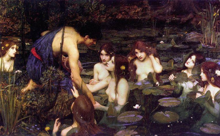 Hylas en de nimfen van John William Waterhouse, geschilderd in 1896. Beeld