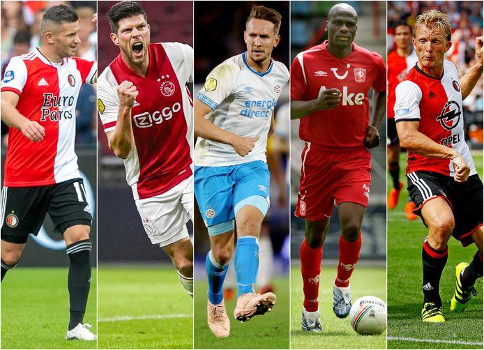 De club van 100: Linssen, Huntelaar, De Jong, N'Kufo en Kuyt (vlnr).