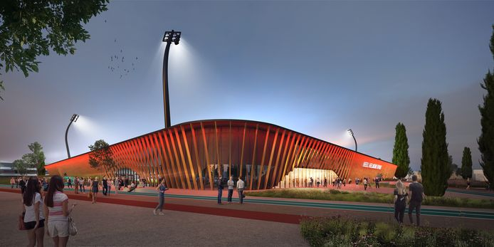 Het nieuwe ontwerp van het Helmond Sport-stadion, waar de tribunes achter de doelen zijn verdwenen. De gebouwen aan de lange zijdes zijn verbreed, zodat er meer exploitatieruimte ontstaat voor de voetbalclub. Ook de gevel is aangepakt, zodat de accommodatie meer voetbaluitstraling krijgt.