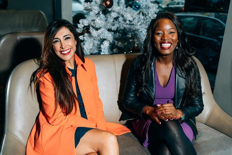 Assita Kanko (l.) en Darya Safai: 'Vrouwen moeten hun deel van de macht durven nemen.' Beeld Illias Teirlinck