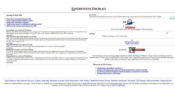 De allereerste webpagina van ED die door Waybackmachine bewaard is.