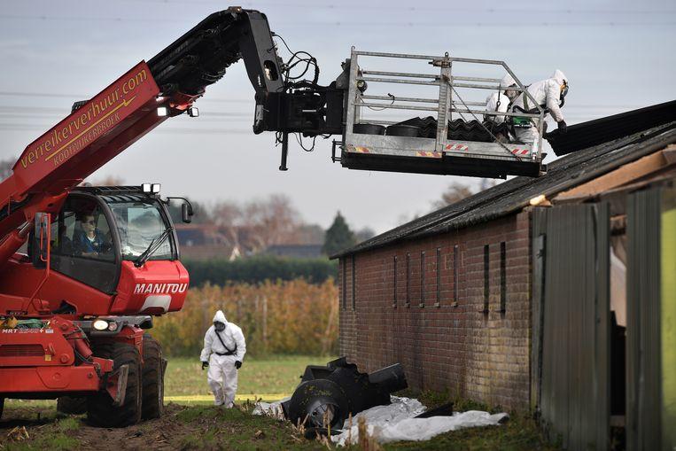 Een boerenschuur in Puiflijk wordt gesloopt. Asbestplaten worden zorgvuldig verwijderd. Beeld Marcel van den Bergh / de Volkskrant