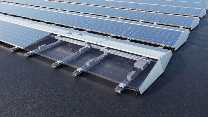 Detailopname van het nieuwe montagesysteem voor zonnepanelen uit de keuken van Esdec dat het bedrijf eind vorig jaar lanceerde als een game-changer omdat installateurs er veel sneller mee kunnen werken.