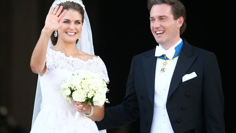 De Zweedse prinses Madeleine en haar kersverse echtgenoot.