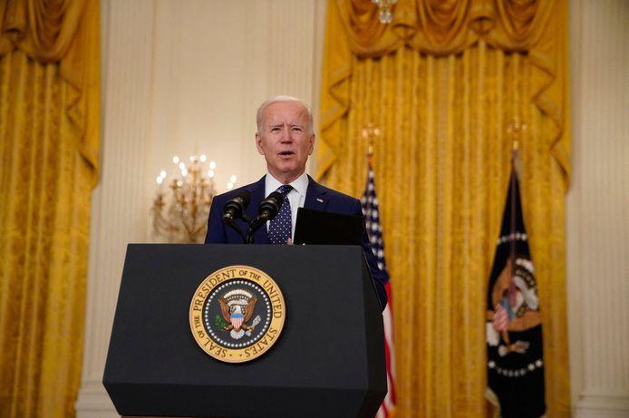 Amerikaans president Joe Biden toen hij de sancties tegen Rusland aankondigde.
