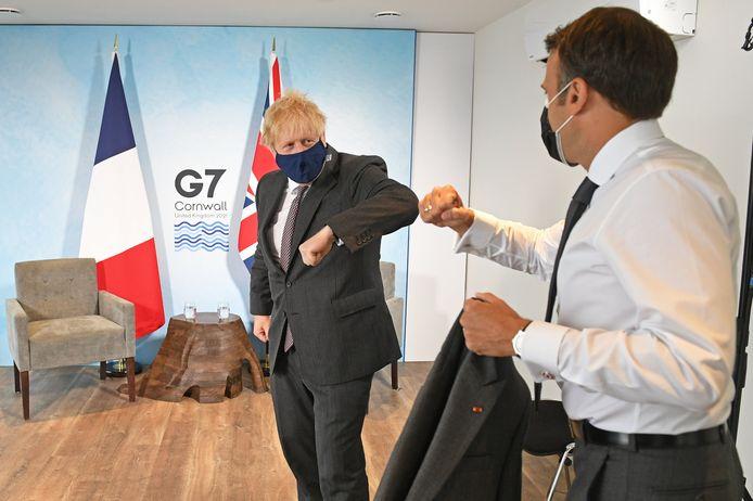 De Britse premier Boris Johnson met de Franse president Emmanuel Macron.