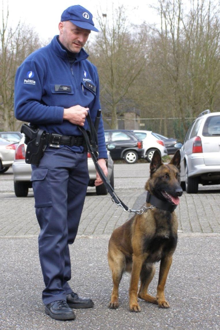 Politiehond Itan met hondengeleider Luc Pauwels.