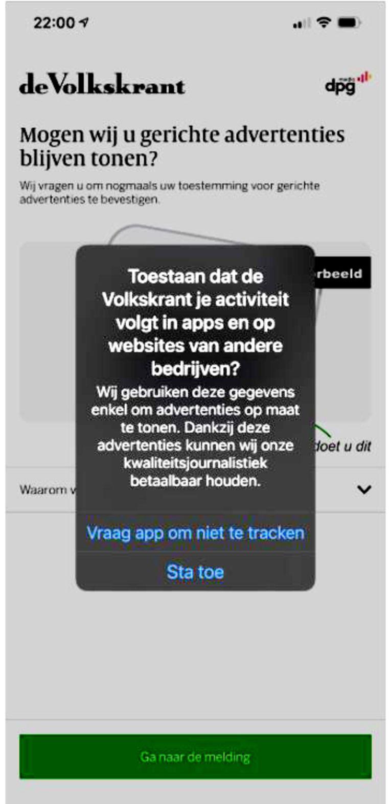 Het door Apple afgedwongen nieuwe toestemmingsscherm van de Volkskrant. Beeld de Volkskrant