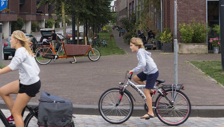 Aan de Zwanebloemlaan op Amsterdam Ijburg wonen ver uit de meeste kinderen (per huishouden) van Amsterdam. Beeld Rink Hof