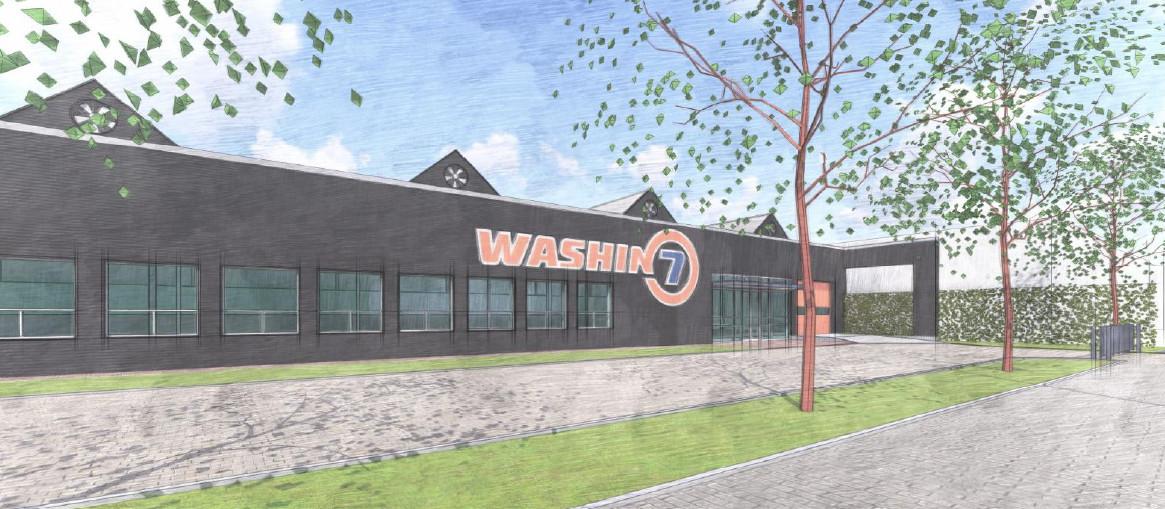 Een impressie van de nieuwe, tweede vestiging van autowasstraat Washin7 die aan de Kanaaldijk-Noord in Eindhoven komt.
