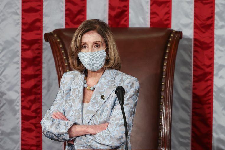 Nancy Pelosi tijdens de stemmingen over het voorzitterschap van het Huis van Afgevaardigden.  Beeld EPA