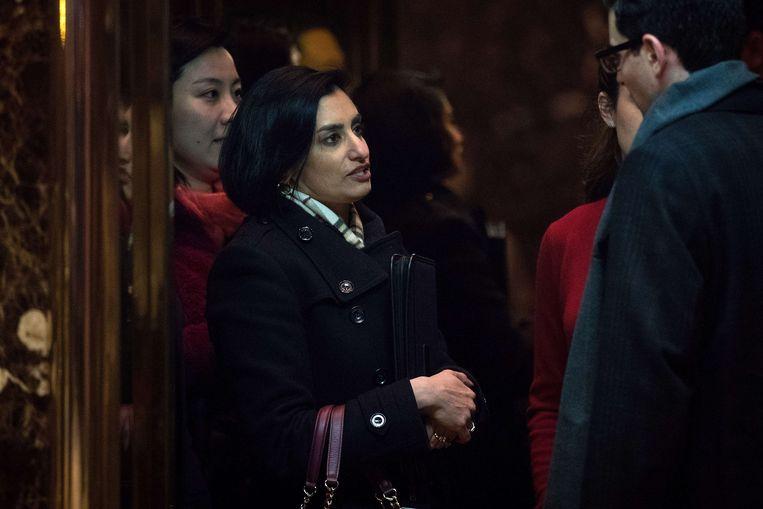 Trump koos de consultant Seema Verma uit Indiana om de agentschappen voor Medicaid en Medicare te gaan leiden.  Beeld AFP