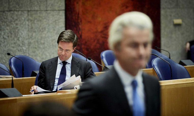 Nederlands premier Rutte en Geert Wilders. Beeld anp