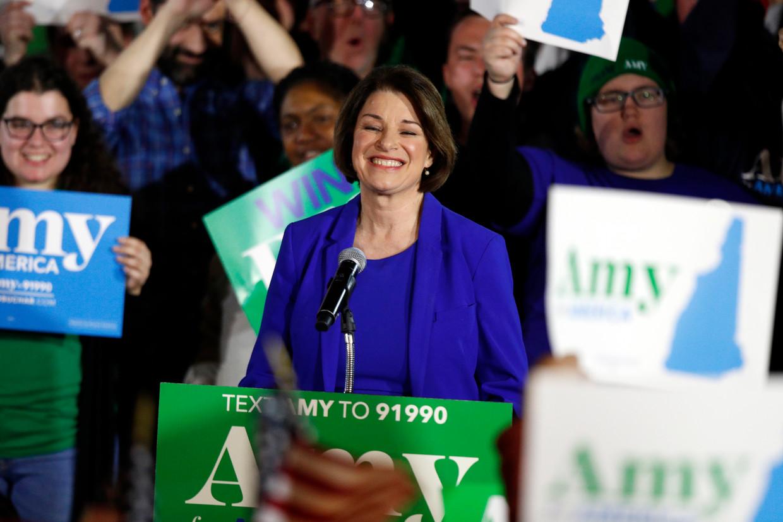 Amy Klobuchar (59) tijdens haar speech in New Hampshire.  Beeld AP