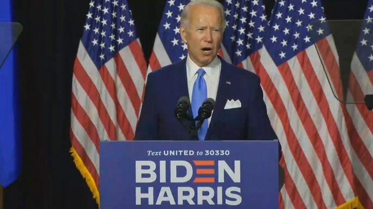 Joe Biden op campagne. Beeld EPA