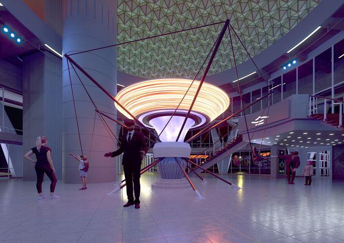 Dust, de VR-tijdmachine van Next Nature Network in de koepel-ruimte van het Evoluon in Eindhoven; het eerste project dat het Futurelab wil laten zien.