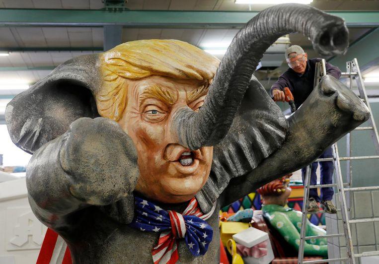 Verschillende kunstenaars hebben werk over Trump gemaakt Beeld anp