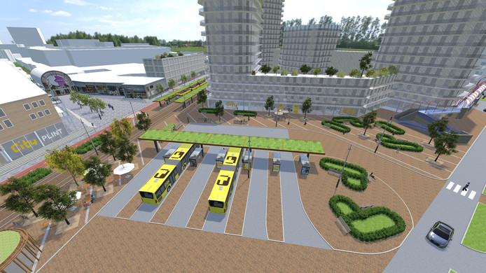 Een artist's impression van het toekomstige tram- en busstation van Nieuwegein.