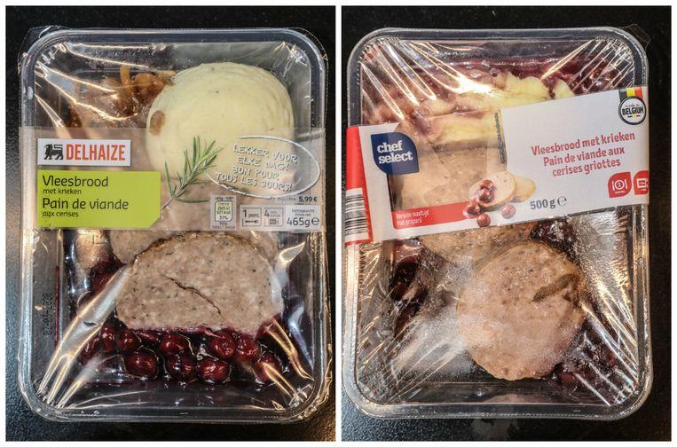 Vlnr: Vleesbrood met krieken en aardappelpuree van Delhaize en Lidl