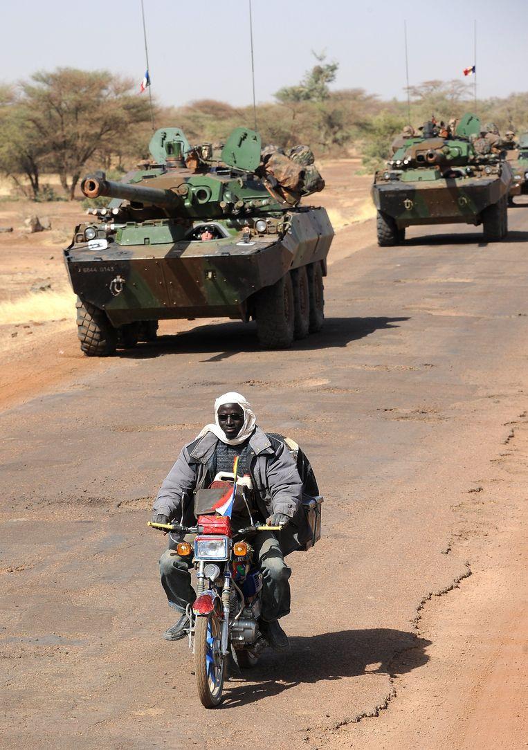 Een militair konvooi richting de Malinese stad Gao. Beeld AFP