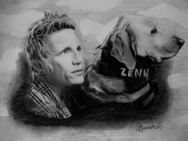 Amateurkunstenaar Lucien Heuninckx maakte een portret van 'Wielemie' en haar hond 'Zenn'.