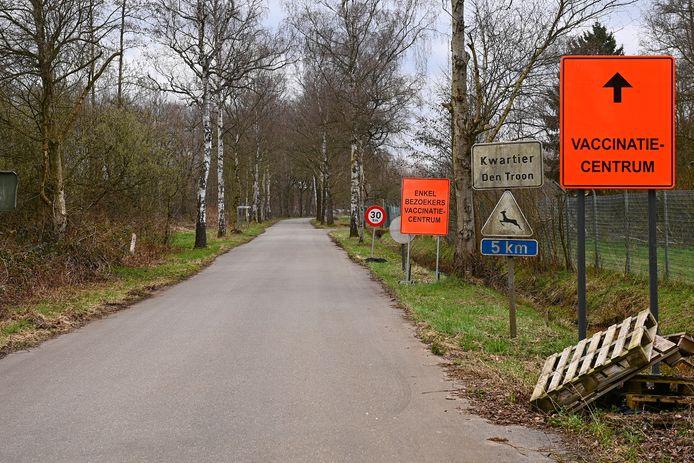 De weg naar het vaccinatiecentrum in Grobbendonk