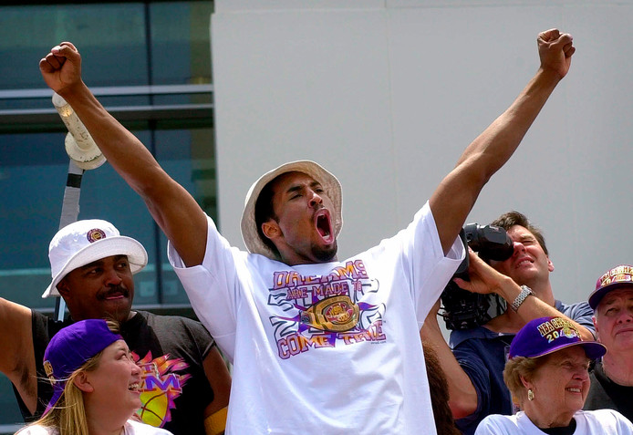 Kobe Bryant werd vijf keer kampioen van de NBA met de LA Lakers: in 2000, 2001, 2002, 2009 en 2010.