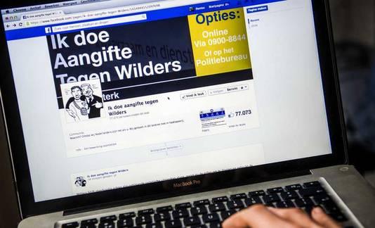 Een facebookpagina die oproept tot aangifte tegen Geert Wilders.