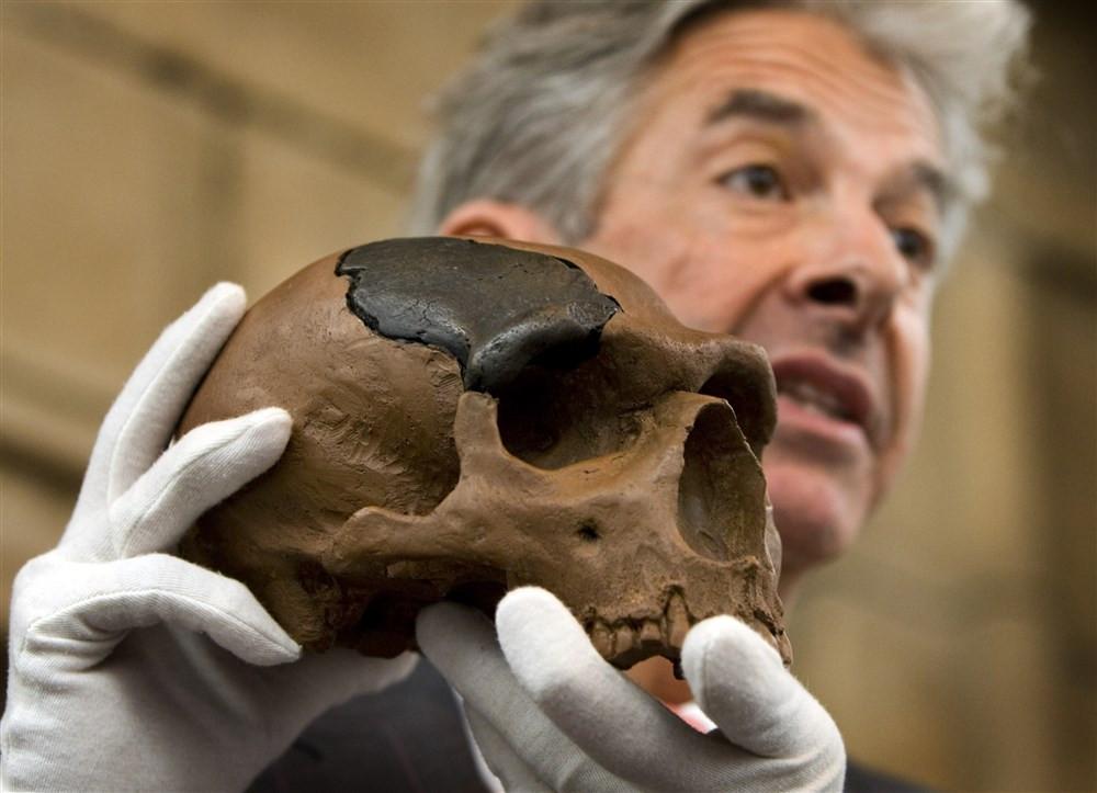 Toenmalig minister Ronald Plasterk geeft uitleg aan de hand van de gereproduceerde schedel van Neanderthaler Krijn.