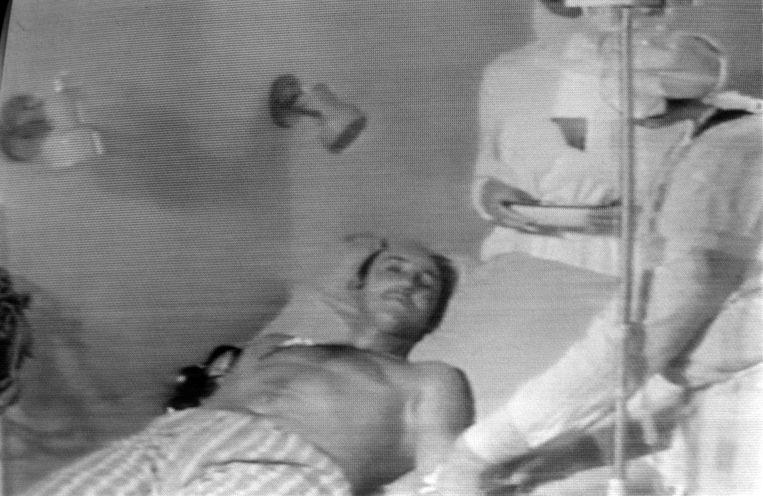 Beeld van een van de gewonden dat getoond werd op de Russische televisie. Beeld AFP
