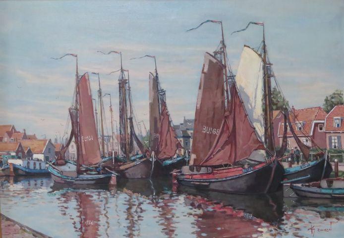 De Oude Haven van Spakenburg, geschilderd door Klaas Zwaan.