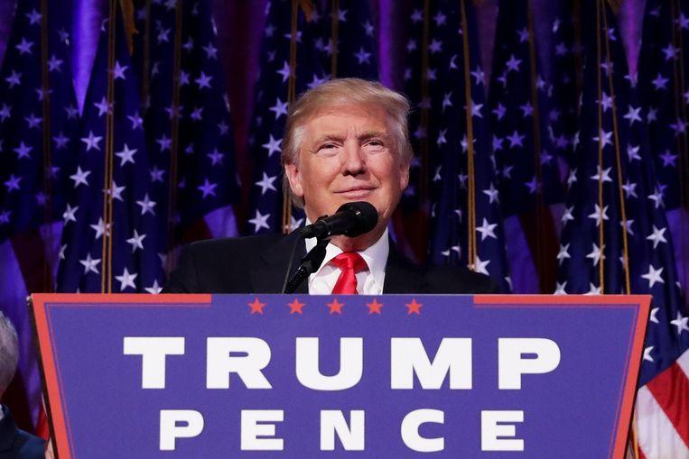 Trump tijdens zijn overwinningsspeech Beeld ANP