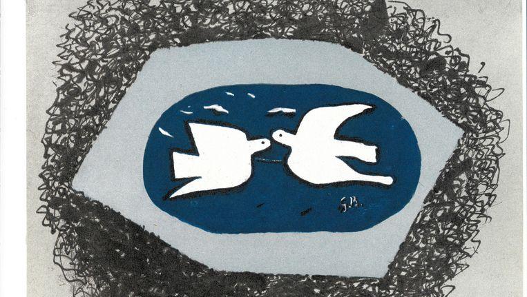 Georges Braque: Deux oiseaux, in het tijdschrift Derrière le Miroir, 1967. Beeld Collectie Rijksmuseum